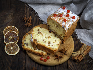 baked big cake with dried fruit