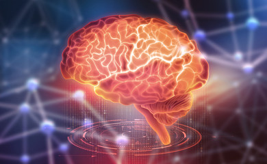 Human brain. Neural networks and artificial intelligence. Creating a computer mind. 3D illustration of the application of innovation in science