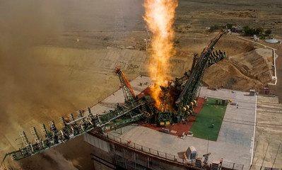 The Soyuz MS-09 spacecraft carrying the next International Space Station (ISS) crew blasts off from the launchpad at the Baikonur Cosmodrome