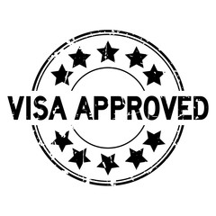 Grunge black visa approved with star icon round rubber seal stamp on white background