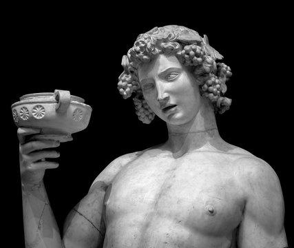 Dionysus Bacchus Wine statue portrait on black