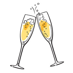 Two sparkling glasses of champagne