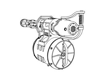sketch of a military machine gun vector