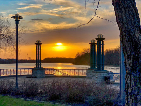 Brilliant Sunset at the Riverfront in Moline, Illinois