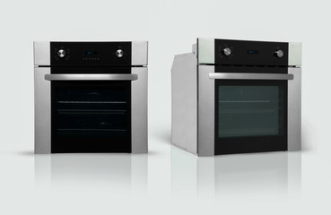 a modern kitchen oven in two positions on a white background. kitchen appliances. Isolated