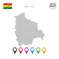 Vector Dotted Map of Bolivia. Simple Silhouette of Bolivia. National Flag of Bolivia. Set of Multicolored Map Markers