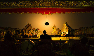 YOGYAKARTA, May 1st 2018: Stage performance of wayang kulit, traditional art of Java, Indonesia