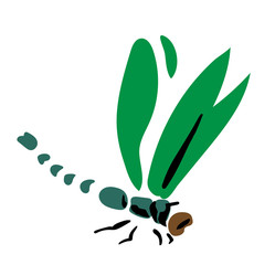 dragonfly insect profile view simple esp 10 flat vector illustration