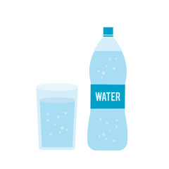 Plastic bottle and glass of water isolated on white background. Vector stock