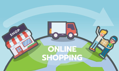 Online shopping, e-commerce concept. Delivery services with shop, truck, and customer icons on globe with a map of the world