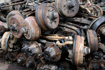 Old car engine part, grunge and rusty machine