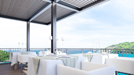 Romantic restaurant with sea view , 3d rendering