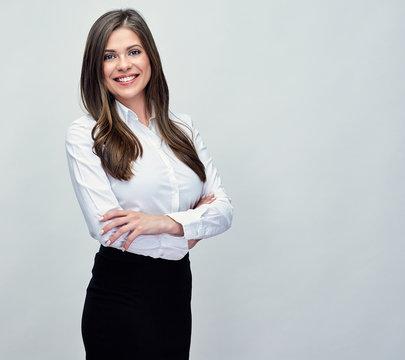 studio portrait of smiling positive business woman.