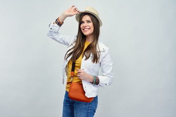 Fashion portrait of stylish young woman dressed casual clothes.
