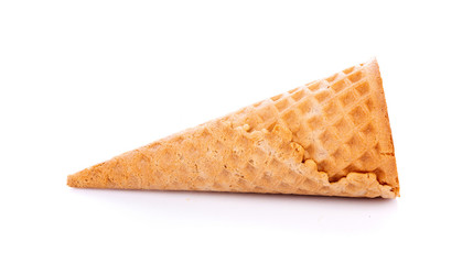 Sweet wafer cone isolated on white background