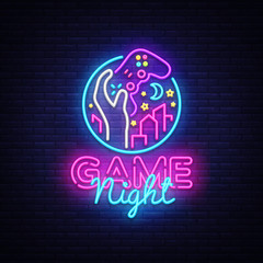 Game Night neon sign Vector logo design template. Game night logo in neon style, gamepad in hand, video game concept, modern trend design, light banner, bright nightlife advertisement. Vector
