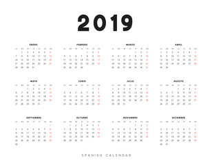 Simple spanish calendar for 2019 years, week starts on Monday.