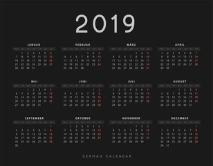 Simple germany calendar for 2019 years, week starts on Monday. Design calender on black background