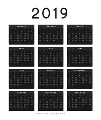 Simple english calendar for 2019 years, Week starts from Sunday.
