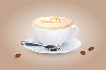 Cappuccino with a heart on milk foam. Popular coffee drink in white cup with saucer and spoon. Vector illustration.