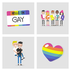Collection of LGBTQ images. Rainbow symbol. Homosexual community. Relationships. Flat editable vector illustration, clip art