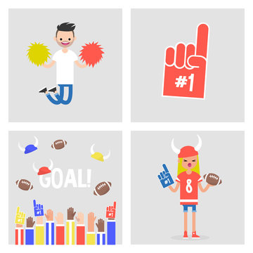 Collection of sport images. Characters and objects. Fans and cheerleaders. Crowd of people throwing balls and horned hats in the air / flat editable vector illustration, clip art
