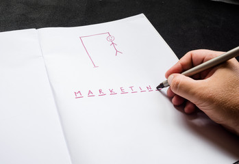 hangman traditional game. hand with marker, highlighter writes word marketing