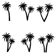 Set of palms. Palm tree vector image. Palm tree silhouette