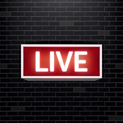 Creative vector illustration of on air live glowing sign isolated on background. Art design tv, radio station, broadcast symbol. Lit on warning board message. Abstract concept graphic element