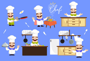 Various Flat Chef Designs and Poses Vector Illustration