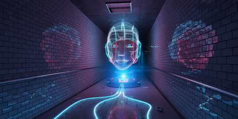 Cyborg hologram watching a subway interior 3D rendering