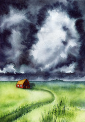 Watercolor Landscape with Stormy Sky