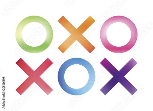 Hugs And Kisses Symbols Colorful Symbols For Greeting Card Tic Tac