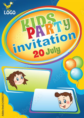 Kids Party Invitation Template Baby Birthday Flyer Kids Event