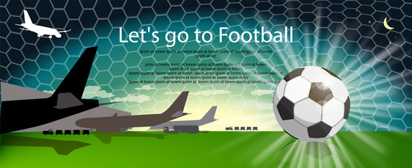 Passenger airport with planes and soccer ball