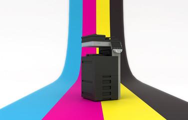 Stampa digitale in quadricromia, illustrazione 3d