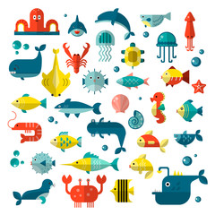 Set of vector flat sealife elements, plants and sea animals - shark, jellyfish, octopus and others. Collection of modern sea underwater life