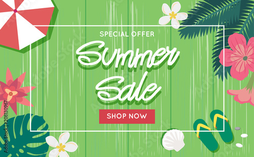 e63da5a57660b Summer sale banner template with wooden background