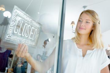 woman closing