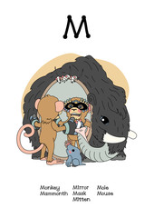 vector scandi animals English alphabet for letter M