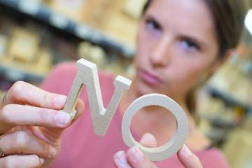 girl showing no