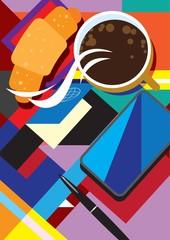 Coffee break / Creative conceptual still life vector. Smartphone and coffee.