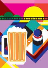 Taking pictures / Creative conceptual still life vector. Camera and beer.