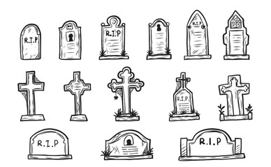 Set of grave marker vector on white background.cemetery mark sketch by hand drawing.
