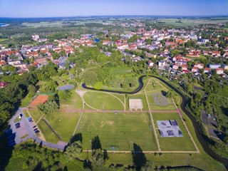 Aerial view of beautiful public city park in Wegorzewo, Mazury, Poland