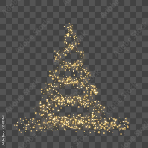 Christmas Tree On Transparent Background Gold Christmas Tree As