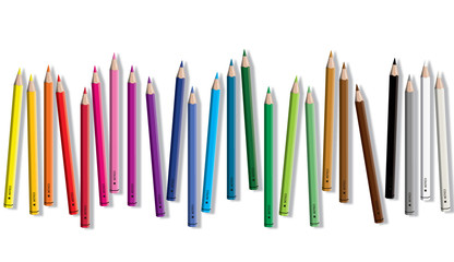 Set of colored pencil collection random arranged - seamless in both directions - isolated vector illustration craynos on white background.