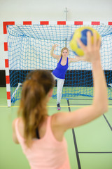 sportswoman ready to play handball