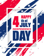 Colorful modern vertical background for Independence Day USA 4th July. Dynamic design elements for poster or banner. Vector illustration.