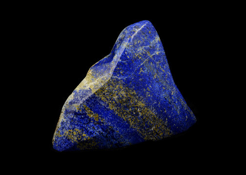 Lapis lazuli mineral lucky stone Triangle shape from Afghanistan with black isolated background